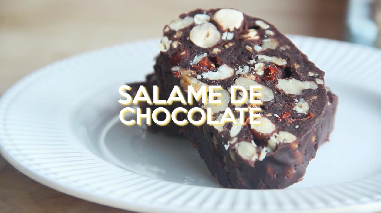 Salame de chocolate vegan + sem gorduras + sem açúcar+ sem margarina