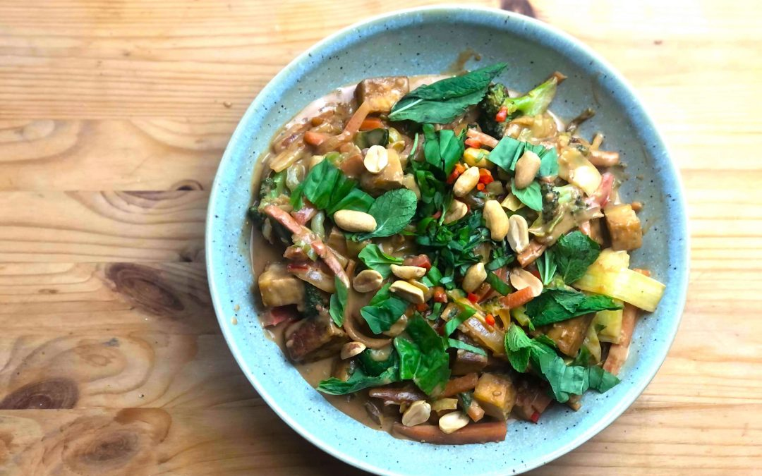 Legumes Satay com Tofu – delicioso, rápido e simples